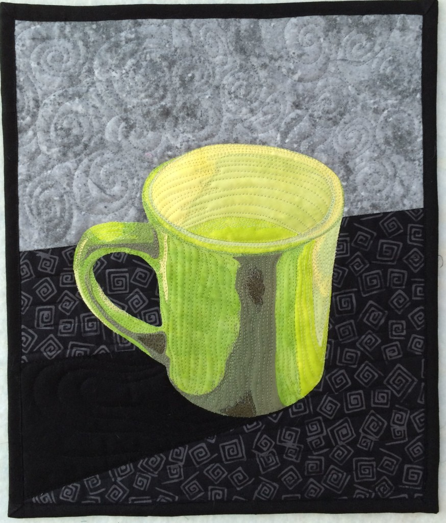 coffee mug, quilted, art quilt materials and methods
